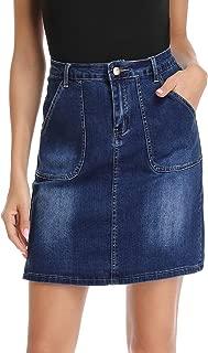 kefirlily Jean Skirt for Women Stretch Denim A Line High Waisted Knee Length Skirt with Pocket