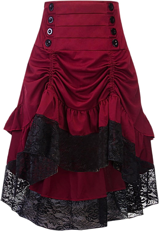 Steampunk Plus Size Clothing & Costumes Alivila.Y Fashion Womens Gothic Steampunk Skirt Asymmetrical High Low Dress  AT vintagedancer.com