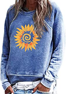 Women Long Sleeve T Shirt Funny Sunflower Graphic Tee Vintage Distressed Pullover Tops Casual Crewneck Shirts