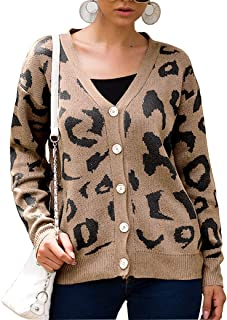 WEEPINLEE Women V-Neck Leopard Printed Front Button Knit Cardigan Sweaters