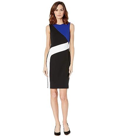 Calvin Klein Color Block Crepe Sheath (Black/White/Blue) Women