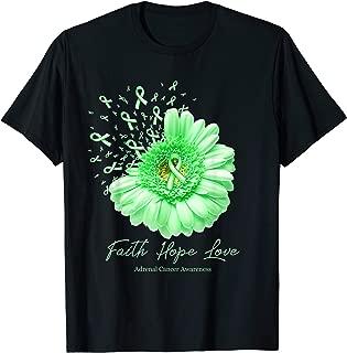 Faith Hope Love Adrenal Cancer Awareness Flower Ribbon Shirt