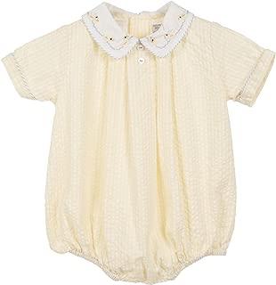 Baby Short Romper Easter Light Yellow Seersucker Hand Embroidered Duck Collar
