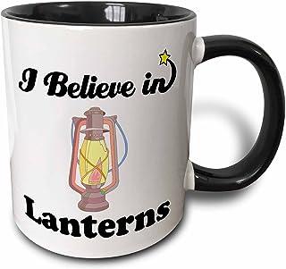 3dRose I Believe In Lanterns - Two Tone Black Mug, 330ml