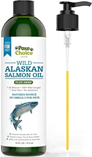 Paw Choice Wild Alaskan Salmon Oil with Organic Hemp Oil for Dogs & Cats - Omega 3, 6, 9 Fish Oil Supplement for Pets - Supports Skin, Coat, Joint, Heart, Immune Health - Made in USA, 16 OZ