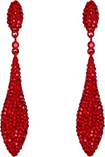 Women's Austrian Crystal Double Waterdrop Pierced Dangle Earrings