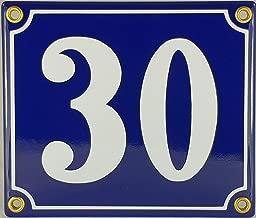 FS Emaille dise/ño con n/úmero 25 de casa 12 x 14 cm Placa met/álica Decorativa Color Azul y Blanco