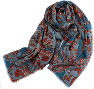 MUZIWENJU Autumn and Winter Pure Wool Scarf Shawl, Ladies Scarf (Blue) (Color : Blue)