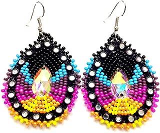 Handmade Glass Seed Beaded Teardrop Earrings