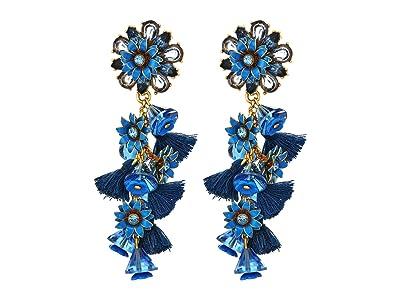 J.Crew Bloom Flower Statement Earrings (Prussian Blue) Earring