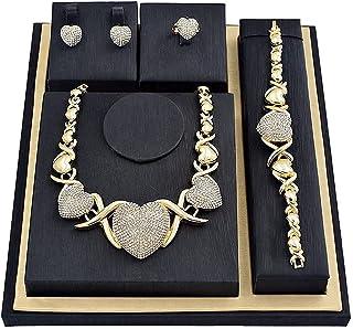 گوشواره و حلقه دستبند Giffor آفریقایی XOXO ست آغوش و بوسه ست گردنبند زنانه 14K روکش طلا CZ دستبند و حلقه