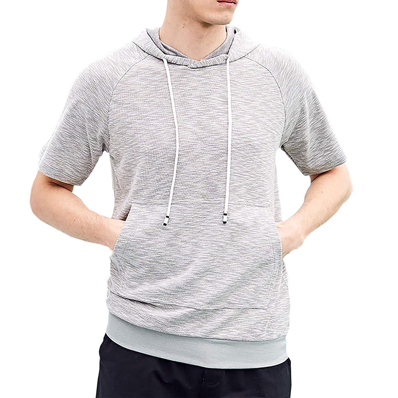 先駆者悪化する曲がった[Make 2 Be] メンズ 半袖 プルオーバー パーカー ビックサイズ スポーツ カジュアル 通気性 抜群 Tシャツ MF92