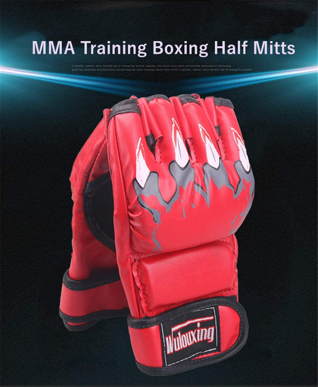 BriaPa MMA Punching Gloves with Adjustable Wrist Band Half Mitts Kickboxing Sparring Grappling Martial Arts Muay Thai Taekwondo Wrist Wraps Beast Paw