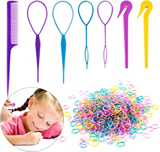 79STYLE 1000pcs Small Elastic Hair Bands 2pcs Mini Rubber Bands Remover Pony Pick cutter 4pcs Topsy Hair Tail Tools Girls ...