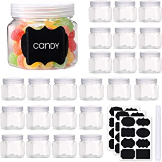 Mother's taste BB Hexagon Plastic Jars 3.5 Oz Clear Storage Jars Small Plastic Containers with Lids and Labels for Spices ...