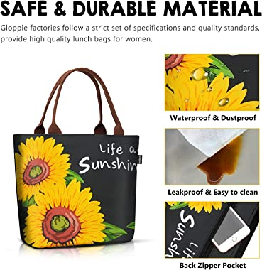 Lunch Bags for Women Tote Cooler Bag Leakproof Insulated Lunch Box Lunch Containers Work Purse for Picnic Boating Beach Fishi