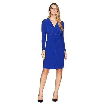 Maggy London Crytal Crepe Wrap Dress (Empire Blue) Women