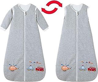 Saco de dormir para bebé de invierno con mangas, para niños y niñas recién nacidos, 3,5 tog, 0 – 10 años (130 cm/3 – 6 años, coche de policía, coche de bomberos)