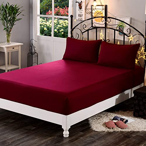 """Dream Care™ Waterproof Dustproof Terry Cotton Mattress Protector for King Size Bed - 78""""x72"""", Maroon"""