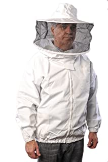 Forest Beekeeping Jacket with Round Veil Hood, Professional Premium Beekeeper Jackets YKK Brass Zippers (Large)