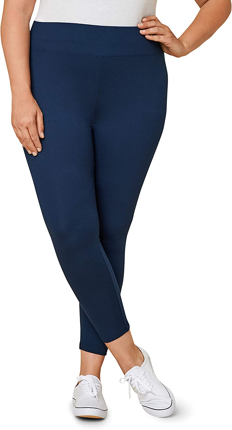 Seek No Further by Fruit of the Loom Women's Wide Waistband Ponte Stretch Leggings