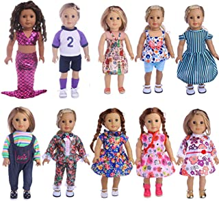"MSDS Lot 10 Pcs Clothes Outfits for American Girl Doll Handmade Dress,Fits 18"" Doll Birthday Xmas GIF"