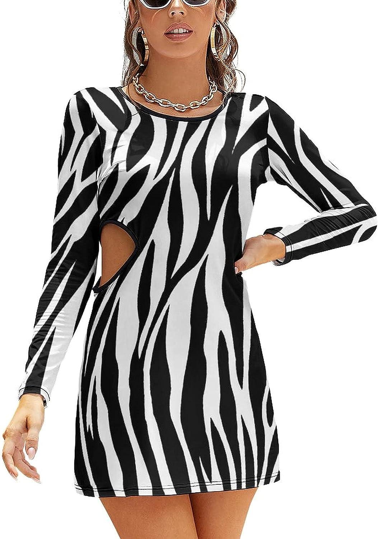 ANSFOR Zebra Stripe Pattern Casual Dresses for Women's Fashion Dew Waist Sexy Slim with Hollow Waist Midi Dress