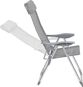 TecTake Juego de 4 Aluminio Sillas de jardín plegable con reposabrazos gris