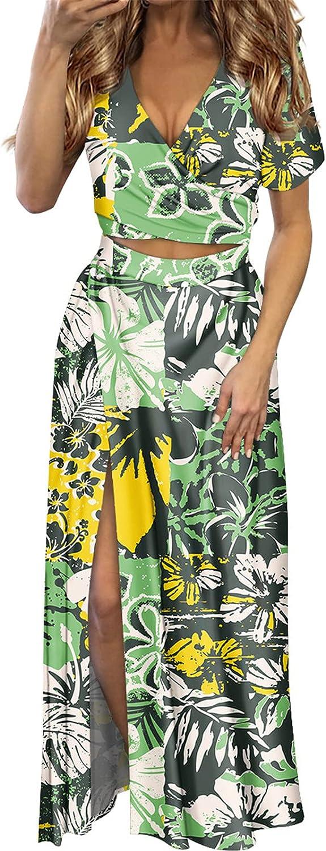 Women Vacation Bodycon Slim Sexy V-Neck Dress Polynesian Hibiscus Flower Print Beach Dress 2 Pcs Set