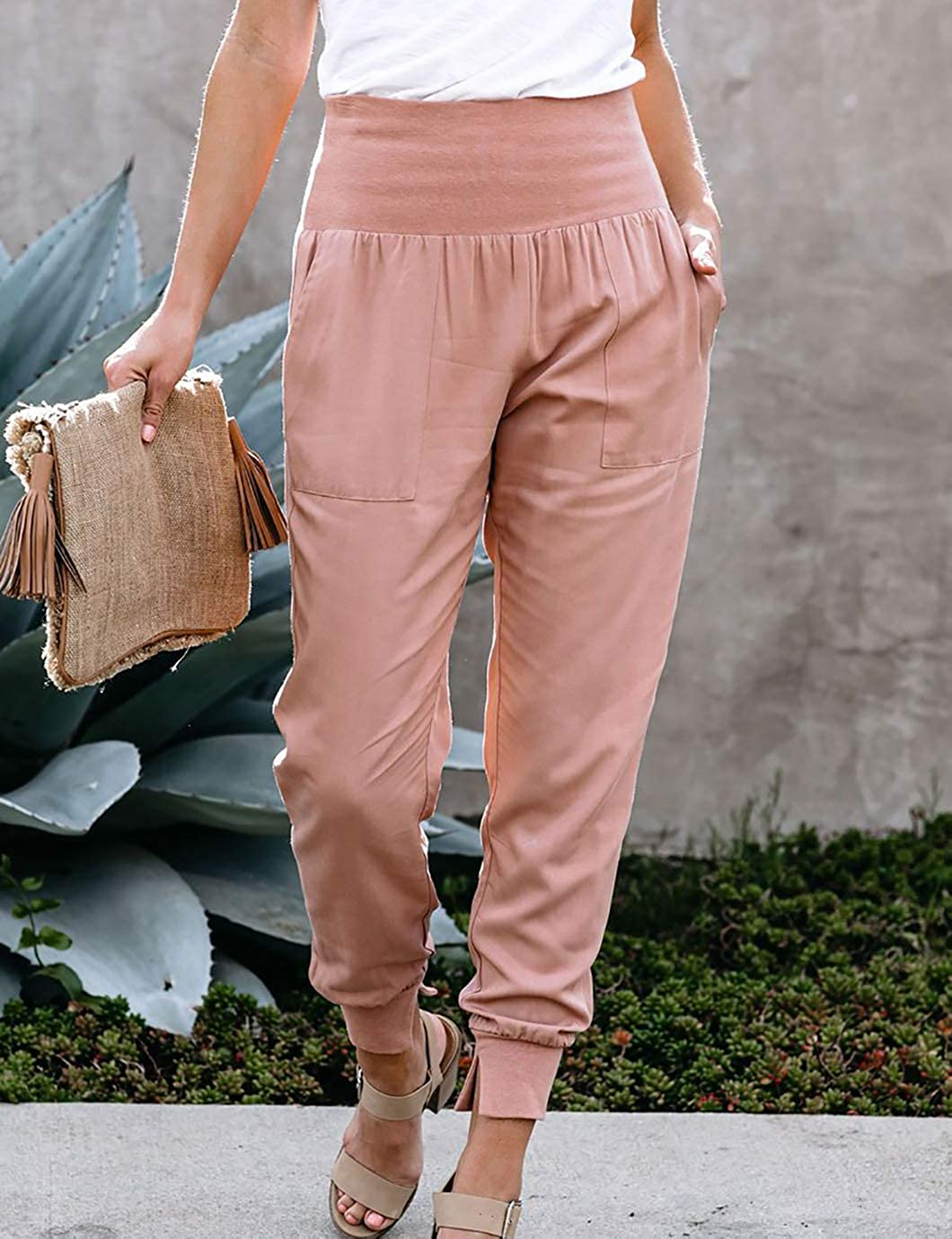 Eddoyee Women Fashion High Waist Pants Casual Solid Color Loose Jogger Trouser with Pockets