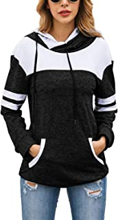 Mulisky Women's Casual Hooded Sweatshirt Cowl Neck Striped Long Sleeve Hoodies Drawstring Pullover Tops with Pockets