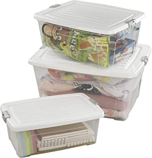 Morcte Clear Plastic Ultra Latch Box, Storage Box with White Lid, 3-Pack, F