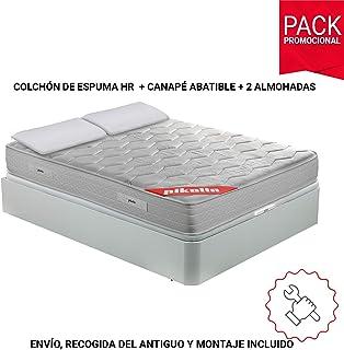 comprar comparacion PIKOLIN Pack Colchón viscoelástico Espuma HR 150x190, canapé Base abatible Blanco con Dos Almohadas de Fibra