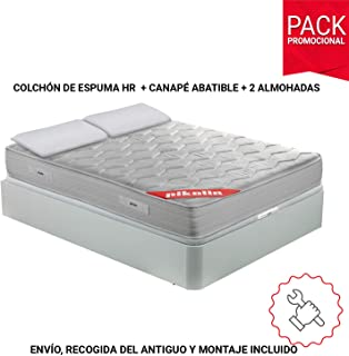 comprar comparacion PIKOLIN Pack Colchón viscoelástico Espuma HR 135x190, canapé Base abatible Blanco y Dos Almohadas de Fibra