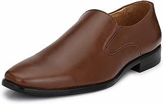 HiREL'S Men's Leather Slip On Mocassion Formal Shoes