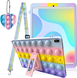 Fidget Toy Case for iPad Mini 5, Push Pop Case [with Toy Keychain/Foldable Stand/Lanyard], Stress Relief Fidget Toy Silicone Rainbow Shockproof Protective Cover for iPad Mini 5-7.9