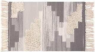 Tufted Tassel Cotton Area Rug, KIMODE Hand Woven Print Tassels Throw Rugs Carpet Door Mat,Indoor Area Rugs for Bathroom,Bedroom,Living Room,Laundry Room (2' x 3', Gray)