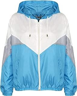 Kids Girls Boys Windbreaker Jackets Turquoise Panelled Hooded Raincoat 5-13 Year