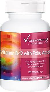 Vitamina B12 con ácido fólico – vegano – tratamiento para 6 meses – gran dosificación – 180 pastillas
