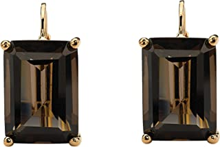 18K Yellow Gold Plated Emerald Cut Genuine Smoky Quartz Drop Earrings (16x10.5mm)