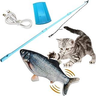 Katzenspielzeug Elektrische Fische,Flopping Fish,USB Elektrische Wagging Fisch Haustier Interaktive Spielzeug,30cm Plüsch Simulation Beißen Kissen Kauen Spielzeug für Katze Kitty Kätzchen
