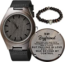Engraved Wooden Watch for Men,Natural Wooden Watch for Husband Son Boyfriend Natural Ebony Customized Wood Watch Graduation Valentine's Christmas