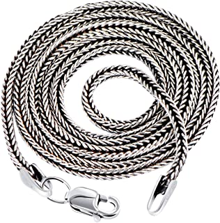 Real 925 Sterling Silver Simple Chains Chokers Necklaces for Women Men for Pendant Accessories Vintage Fashion Jewelry,1.3mm 32inch 80cm
