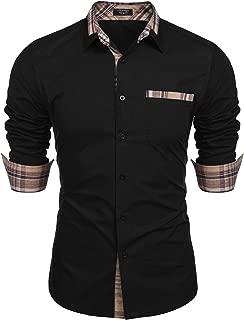 Men's Casual Cotton Slim Fit Dress Shirt Plaid Collar Long Sleeve Button Down Shirt