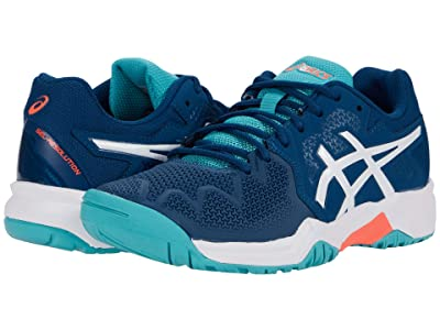 ASICS Kids GEL-Resolution 8 Tennis (Little Kid/Big Kid) (Mako Blue/White) Kids Shoes