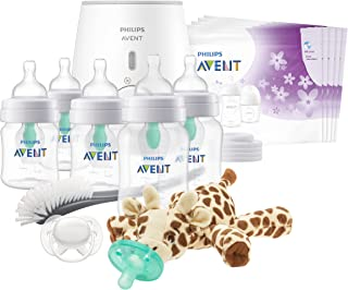 Philips AVENT Anti-Colic Baby Bottle with AirFree Vent All in One Gift Set, SCD308/01, White