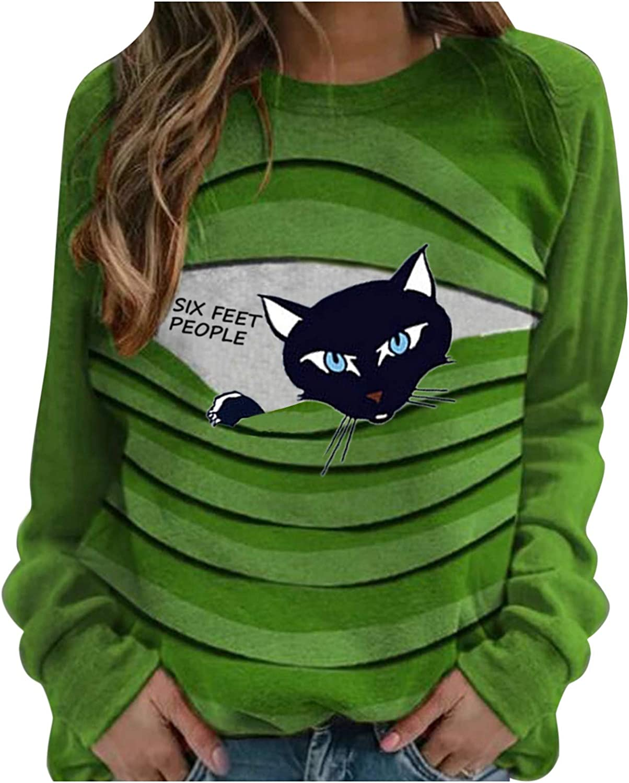 Fekuit Womens Sweatshirts Pullover Long Cat Award-winning store Sweater Print Sleeve High quality new