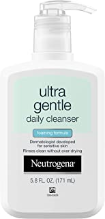 Neutrogena Ultra Gentle Daily Face Wash for Sensitive Skin, Oil-Free, Soap-Free, Hypoallergenic & Non-Comedogenic Foaming Facial Cleanser, 5.8 fl. oz