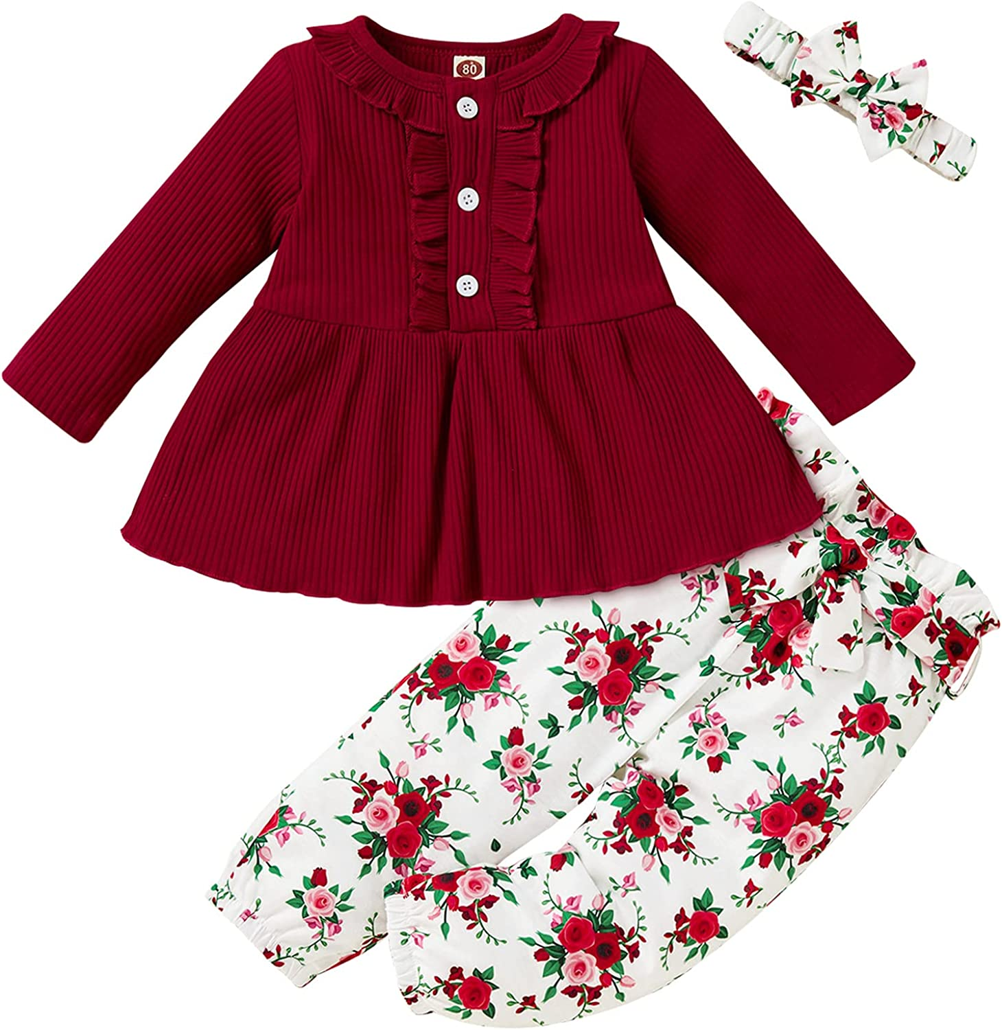 Todder Girls Pants Sets,Baby Girls Outfits,Knitted Ruffles Long
