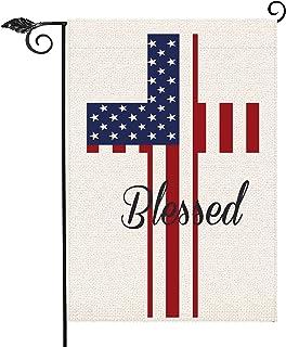 علم أمريكا المباركة حديقة العلم عمودي مزدوج الوجهين 12.5 × 18 بوصة، 4 من يوليو يوم الذكرى الاستقلال ساحة الحديقة خارج المن...